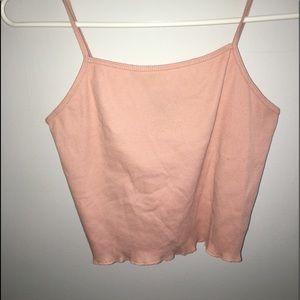 Pink cropped ruffle edge tank top